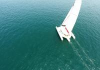 trimaran aerial photo sailing