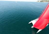 trimaran neel 45 red gennaker view from above