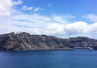 cruiser Santorini Greece blue sky sea coast island