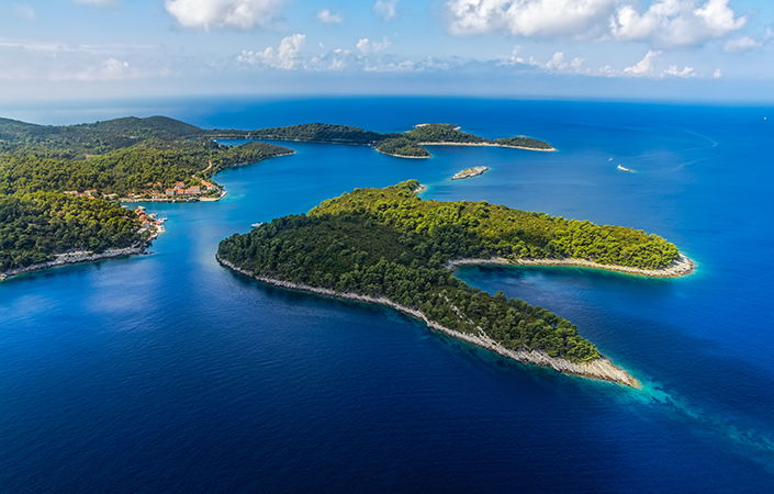 Aerial view of National park on island Mljet