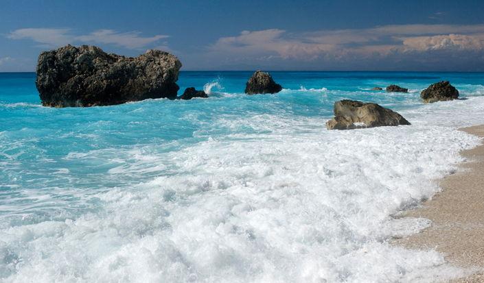 Kalamisti spiaggia, Lefkada, Grecia
