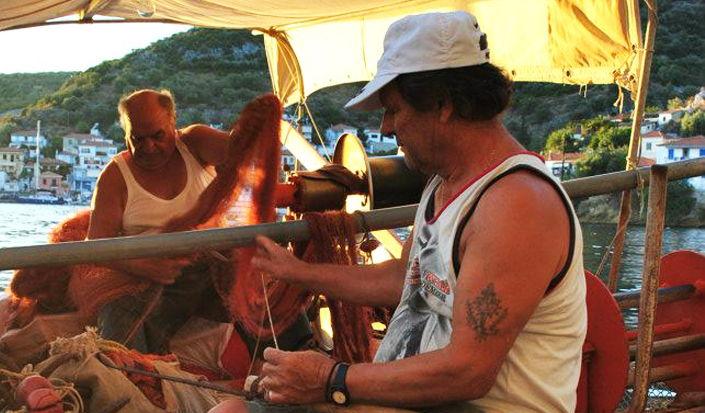 Agia Kiriaki, Griechenland - lokale Fischer