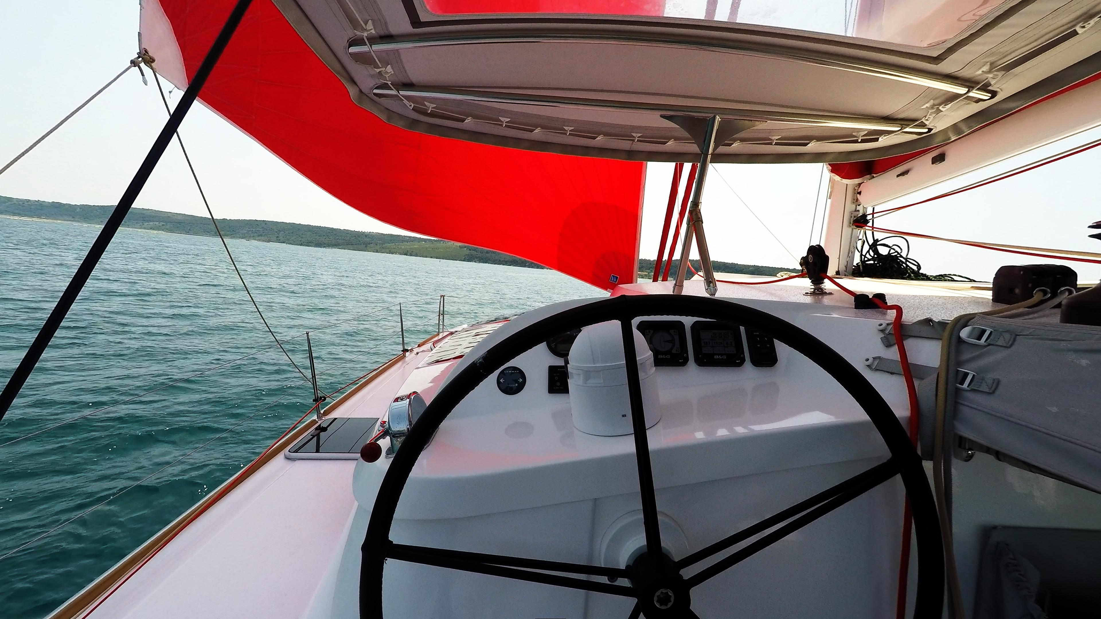 steering wheel sailing yacht trimaran neel 45