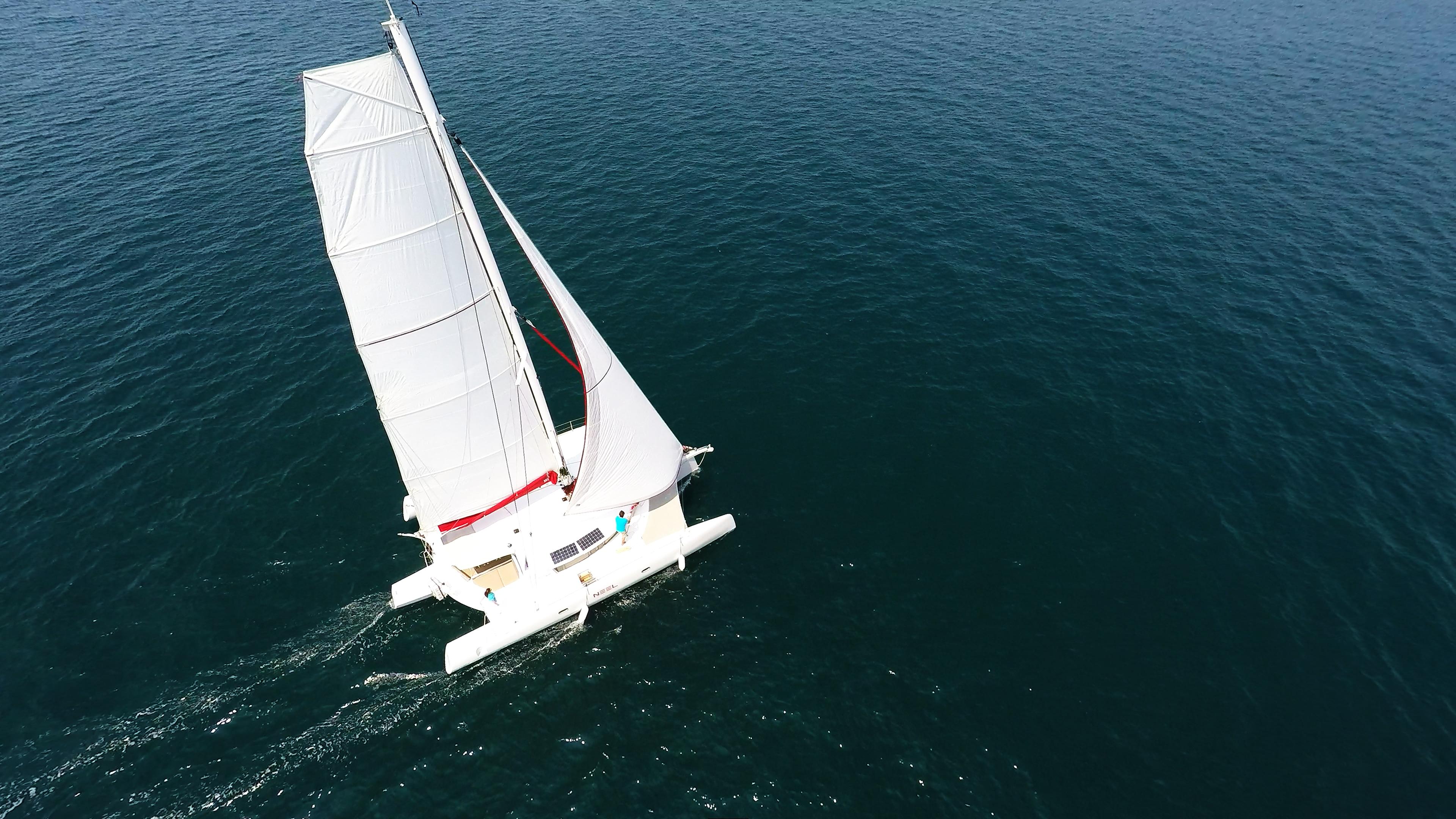 trimaran aerial photo sailing yacht