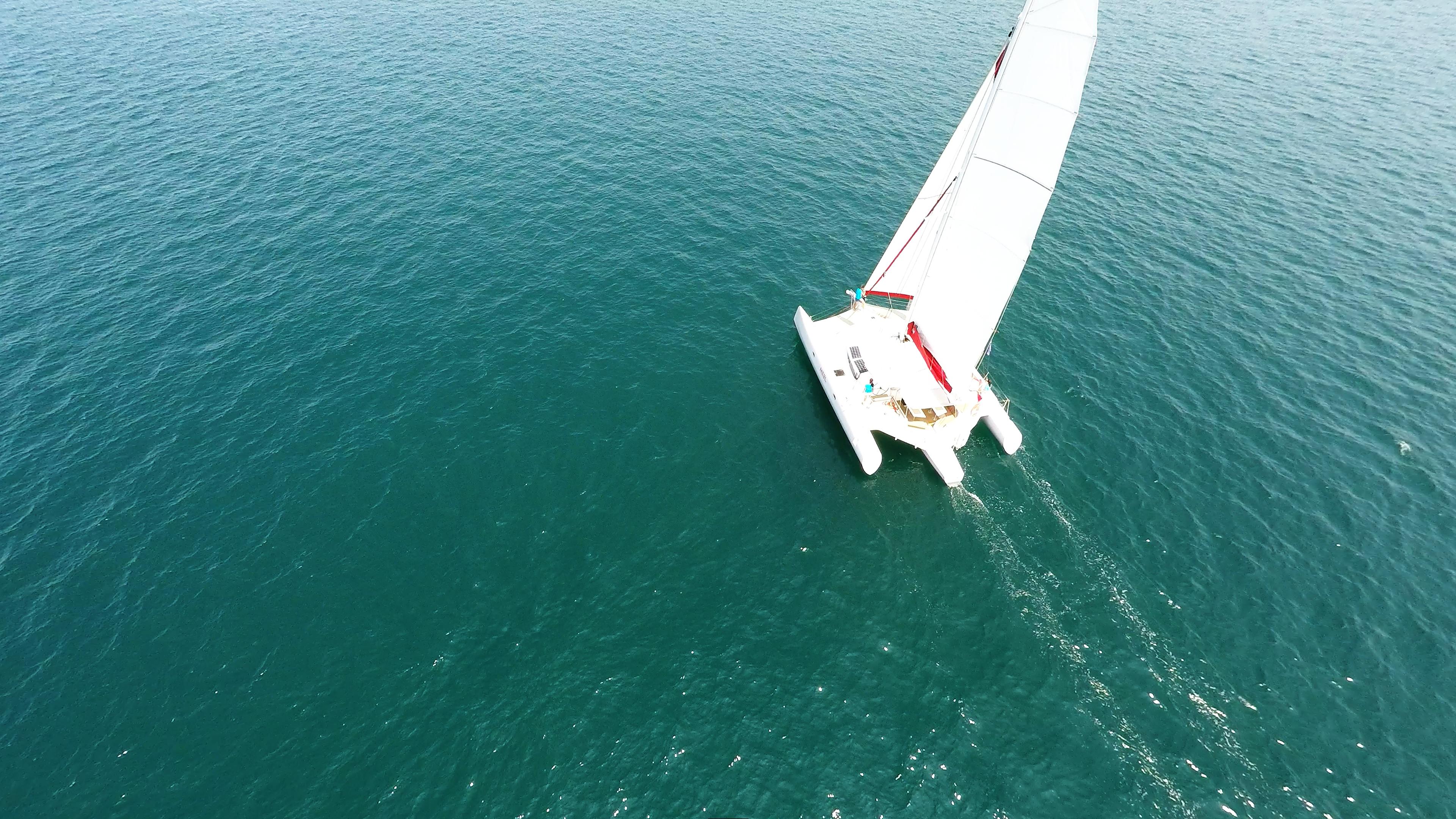 trimaran aerial photo sailing