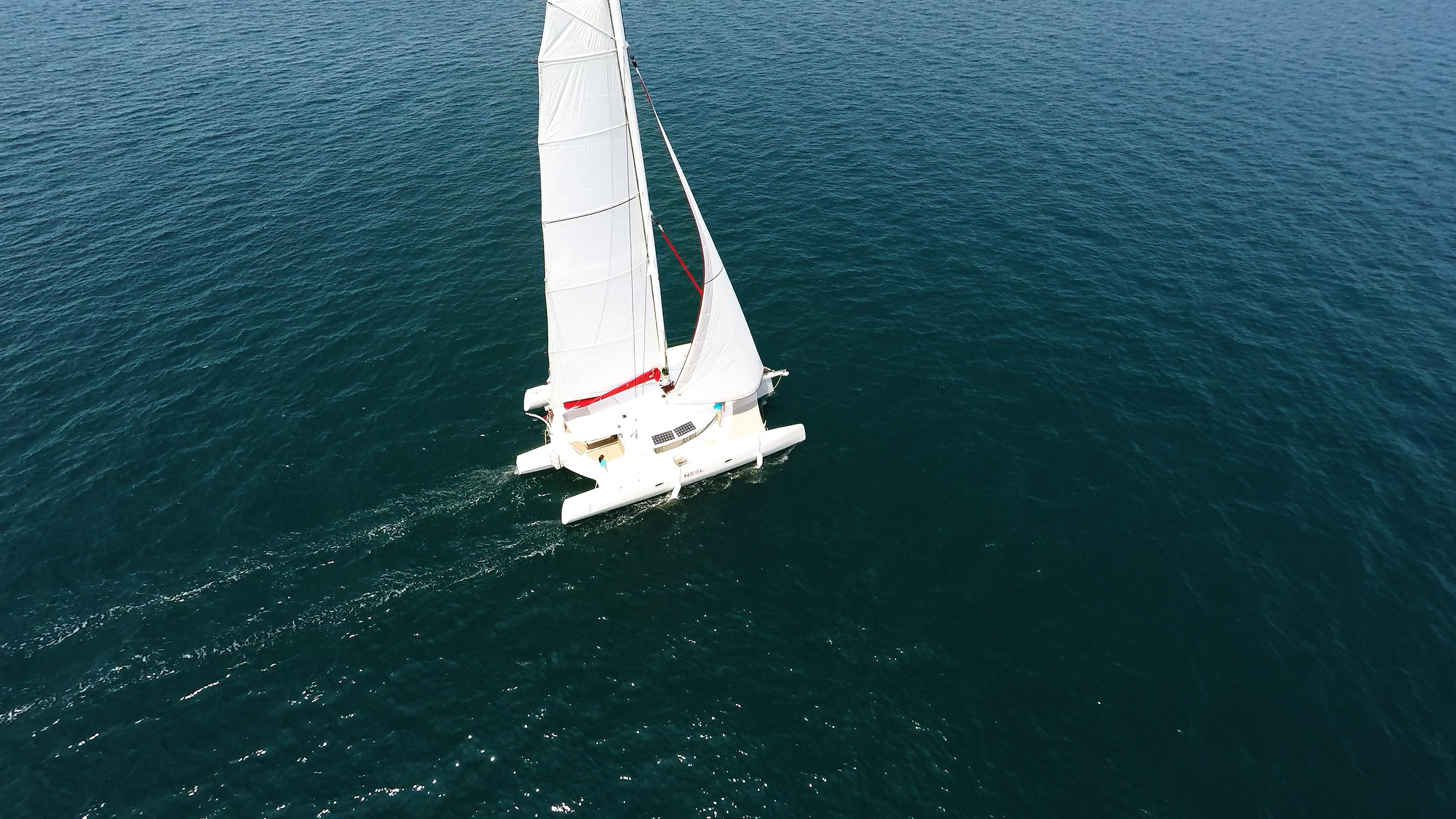 trimaran at sails