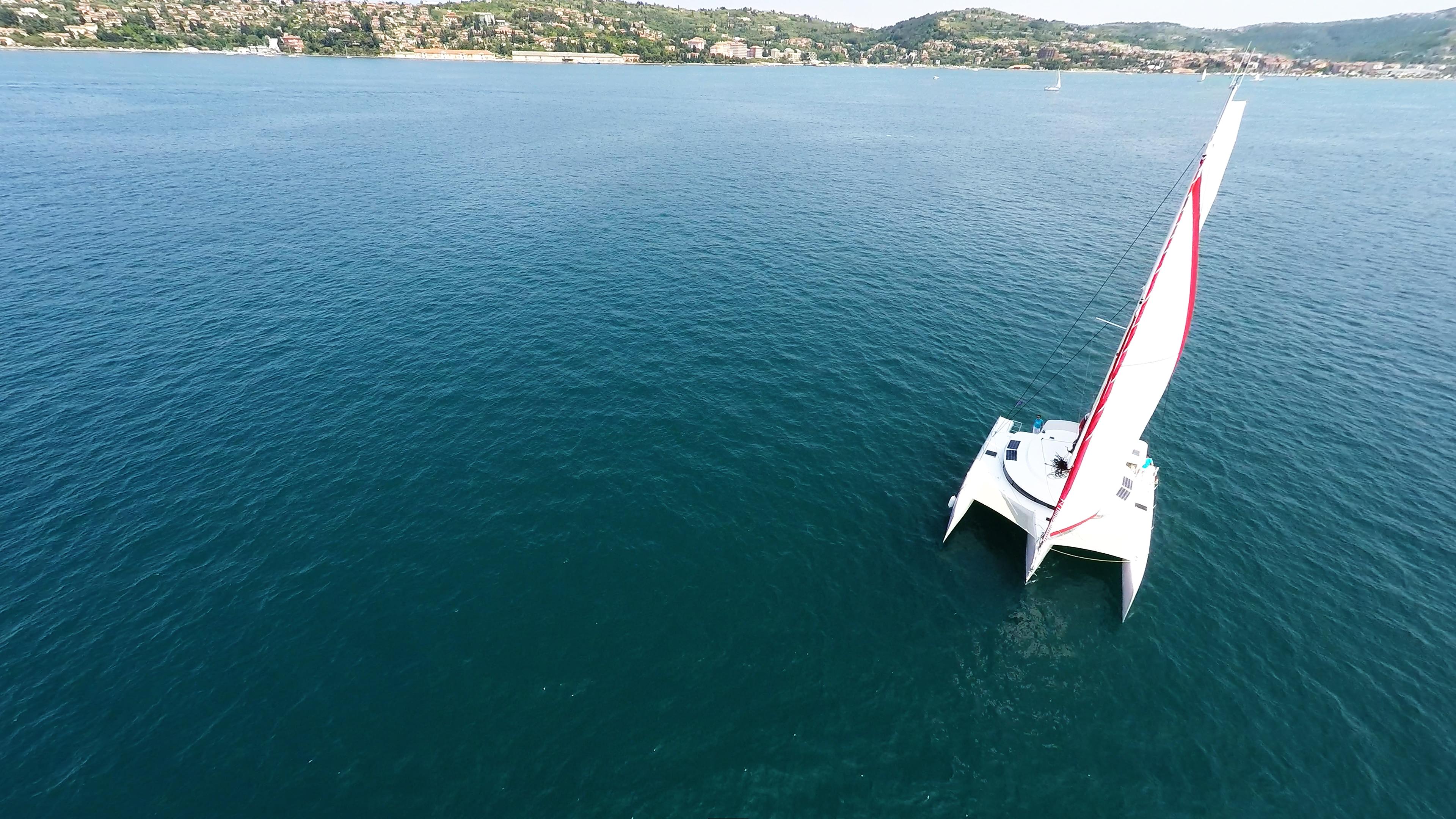 trimaran from air sailing yacht
