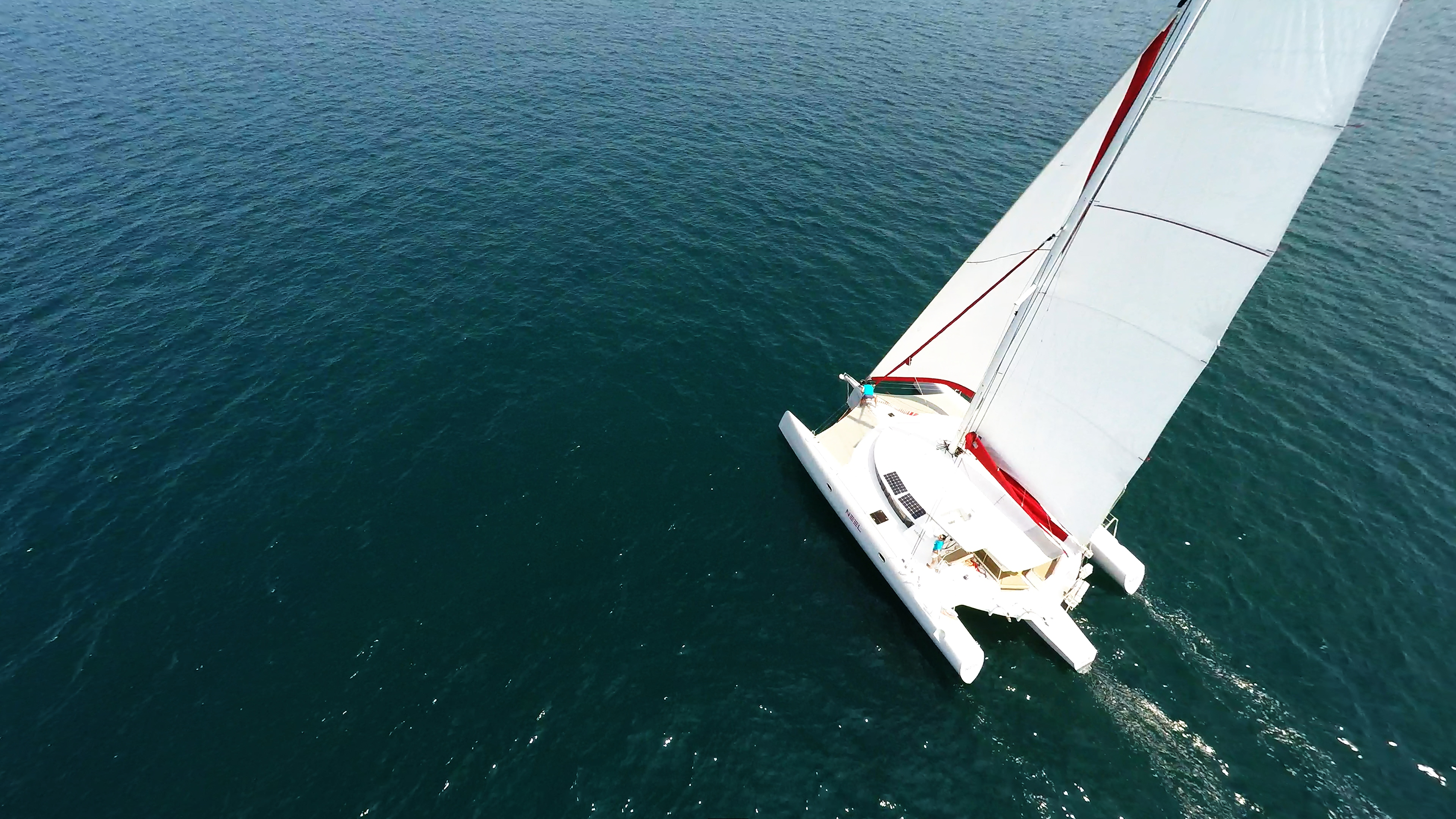 trimaran main sail mast flatten sail yacht