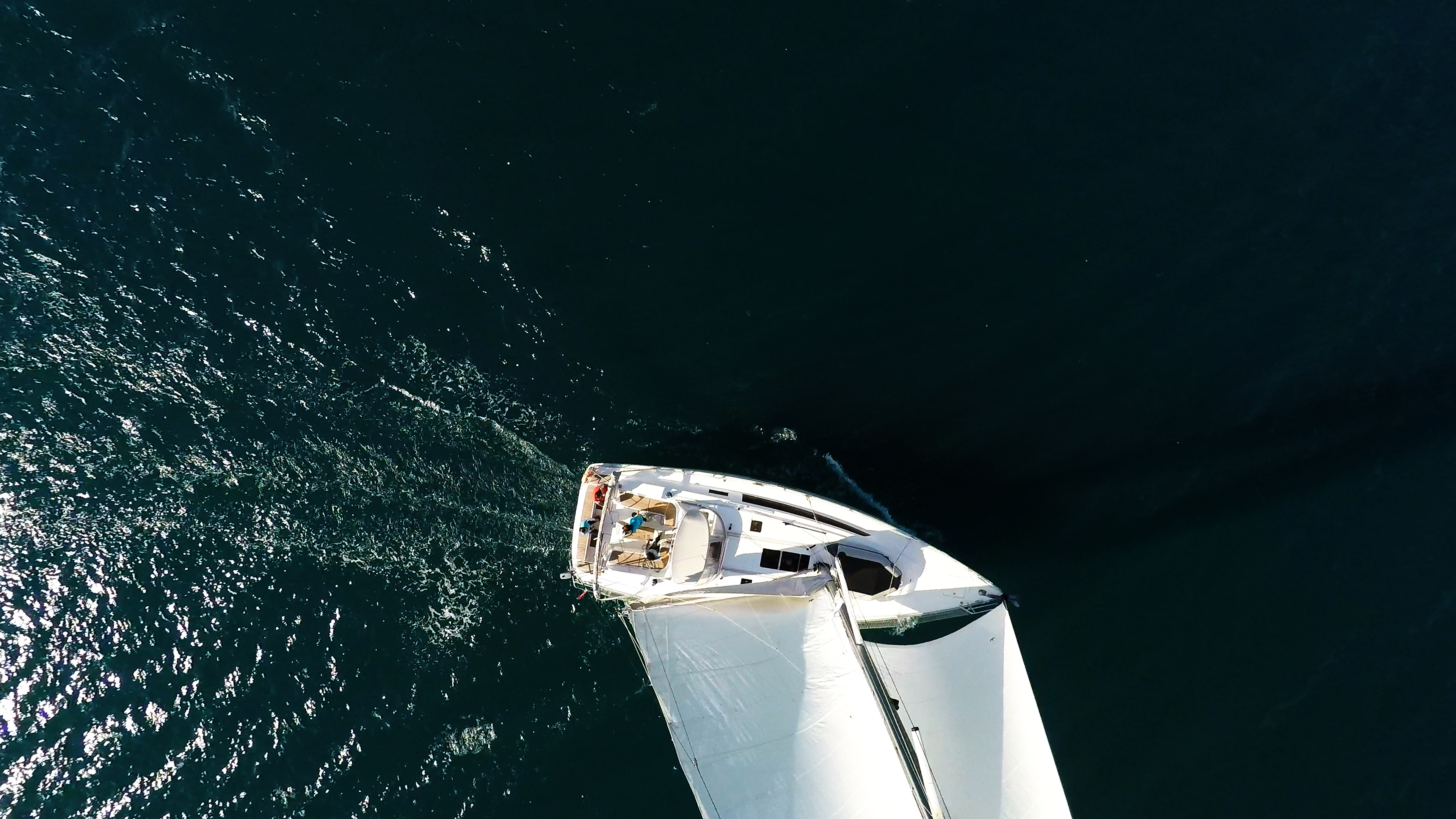 sailing yacht from air