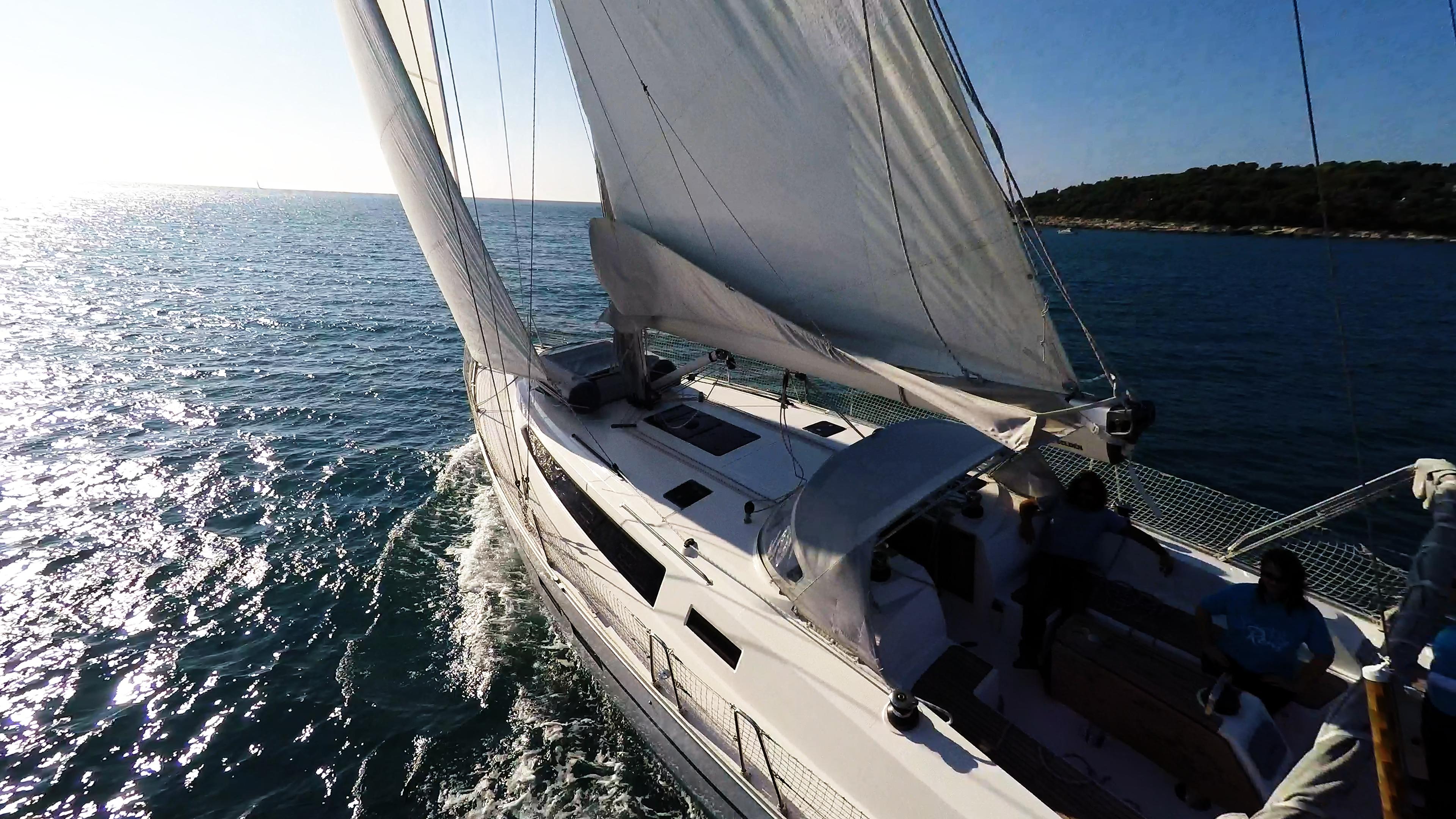 sailing yacht sea sun sailboat cockpit sails