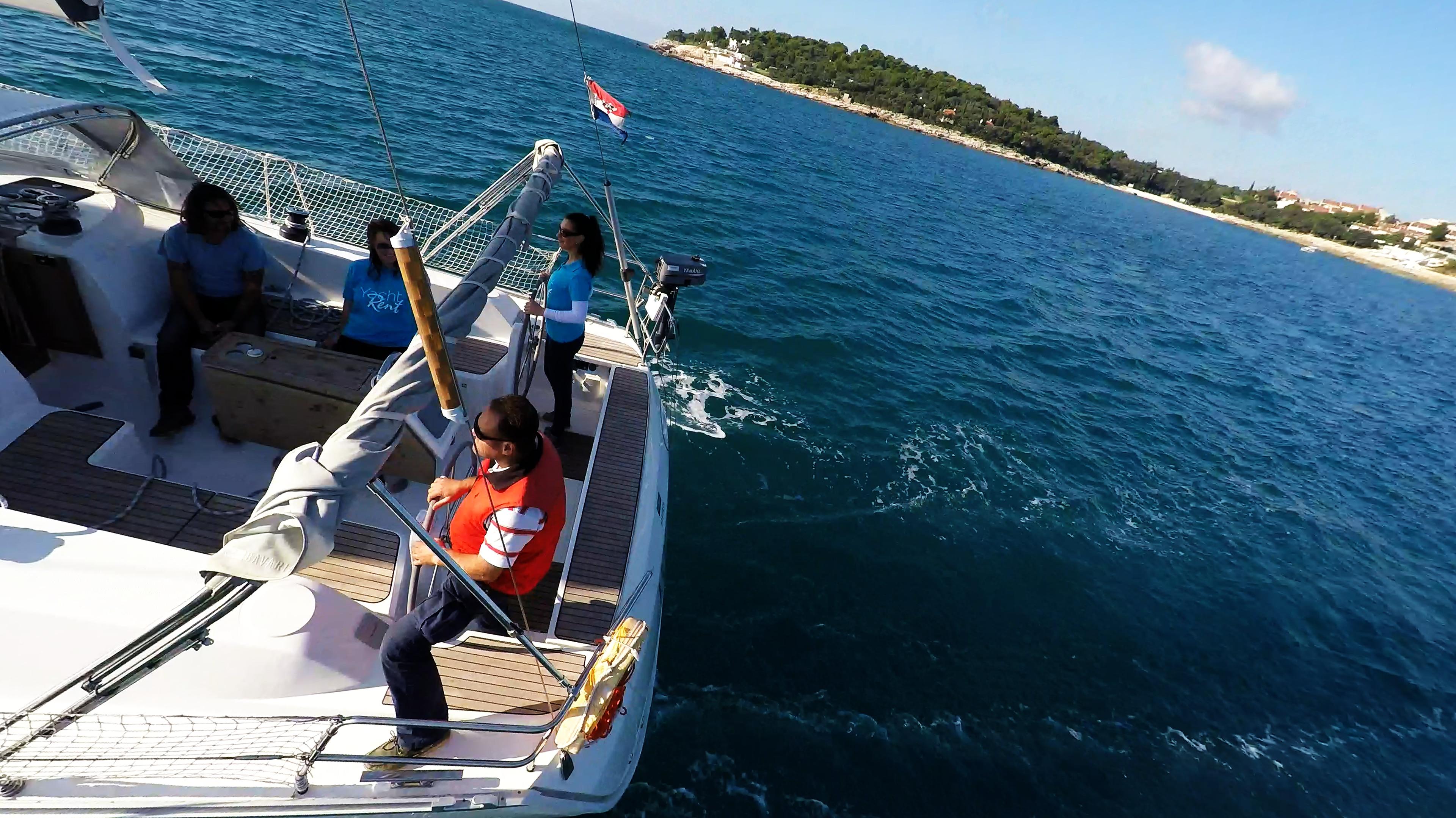 sailing yacht team crew cockpit skipper steering wheels teak
