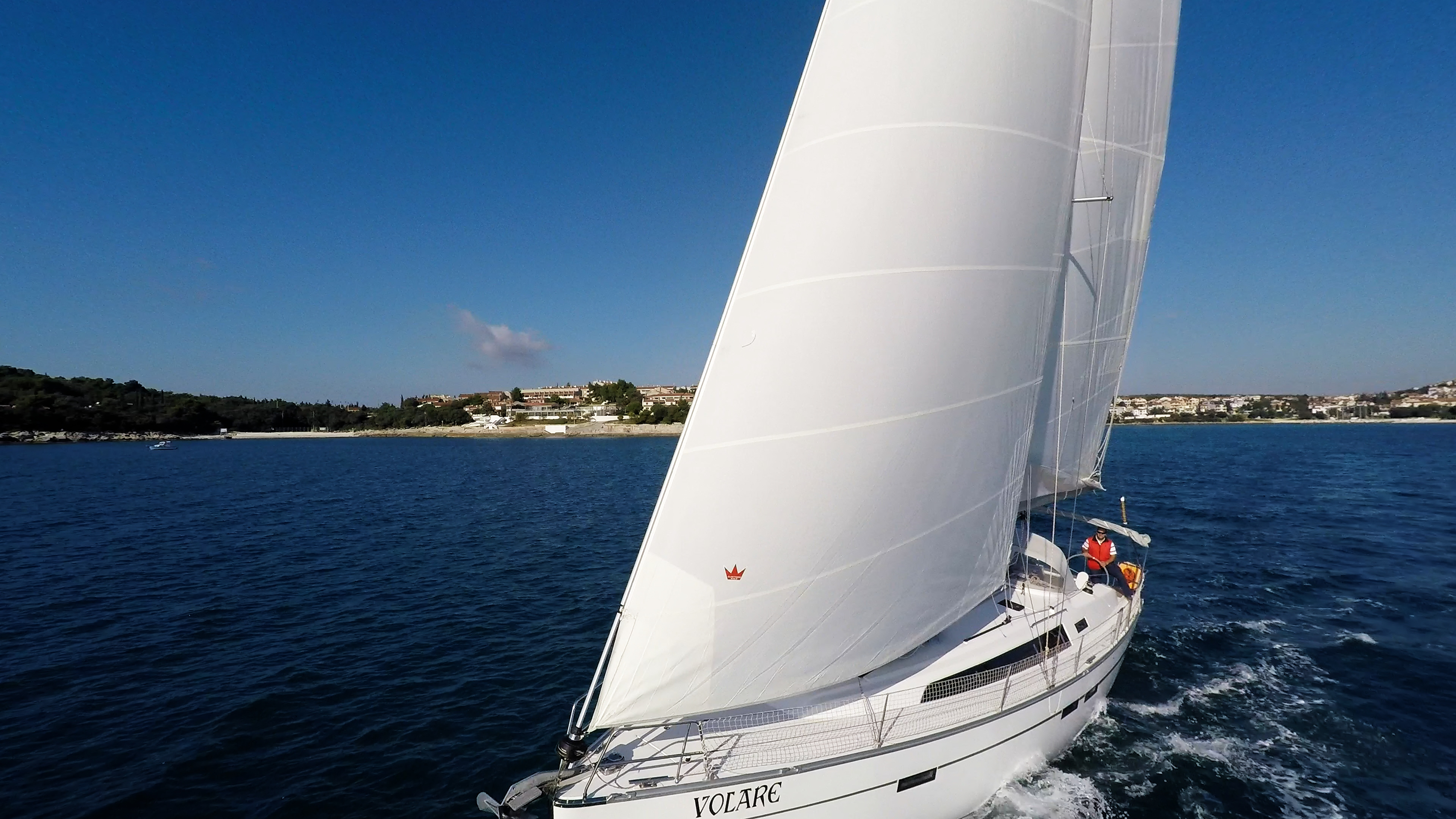 sailing yacht sails sailboat sailing yacht bavaria 46 sea blue sky
