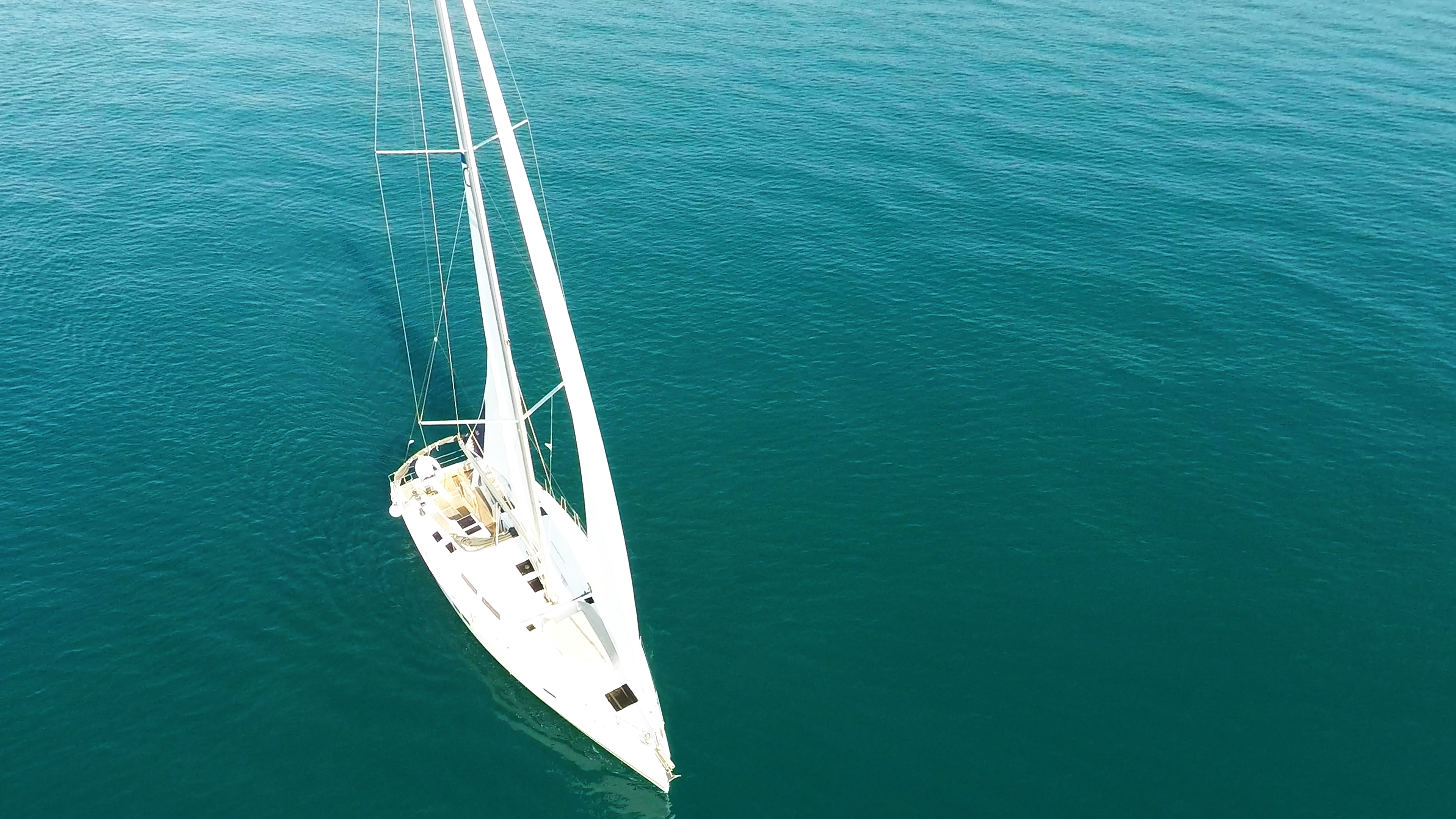 sailing yacht view from above