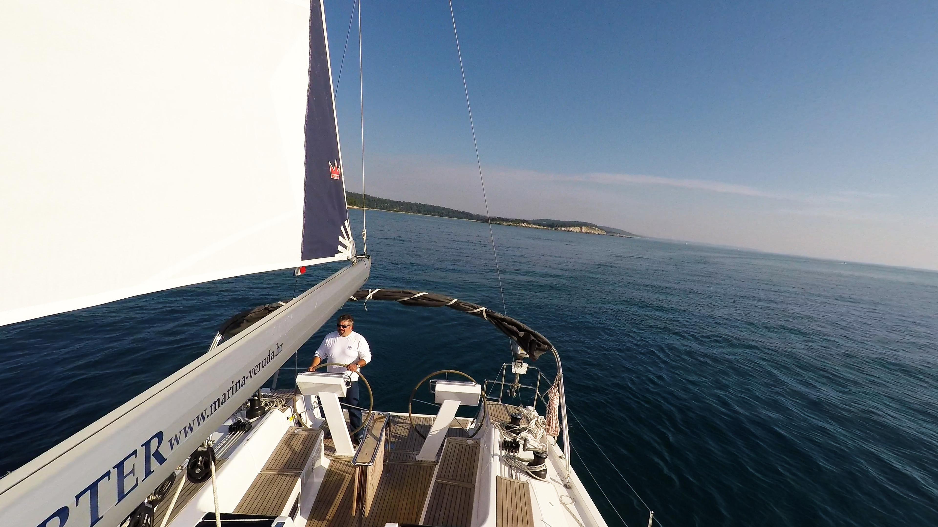 sailing yacht skipper double steering wheel boom sail sailing yacht cockpit deck sailboat