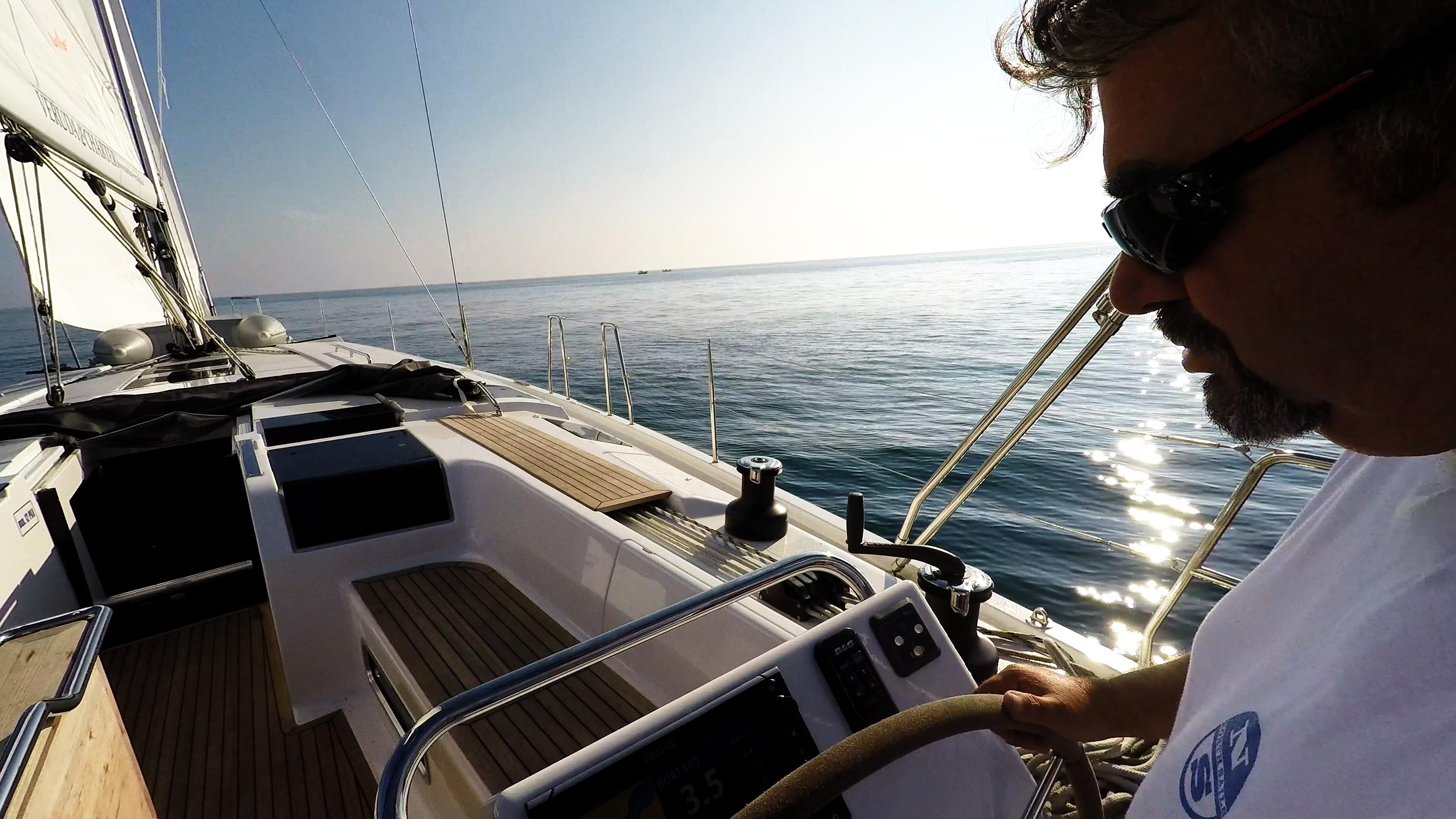 sailing yacht skipper sailboat cockpit teak sailing yacht Hanse 505