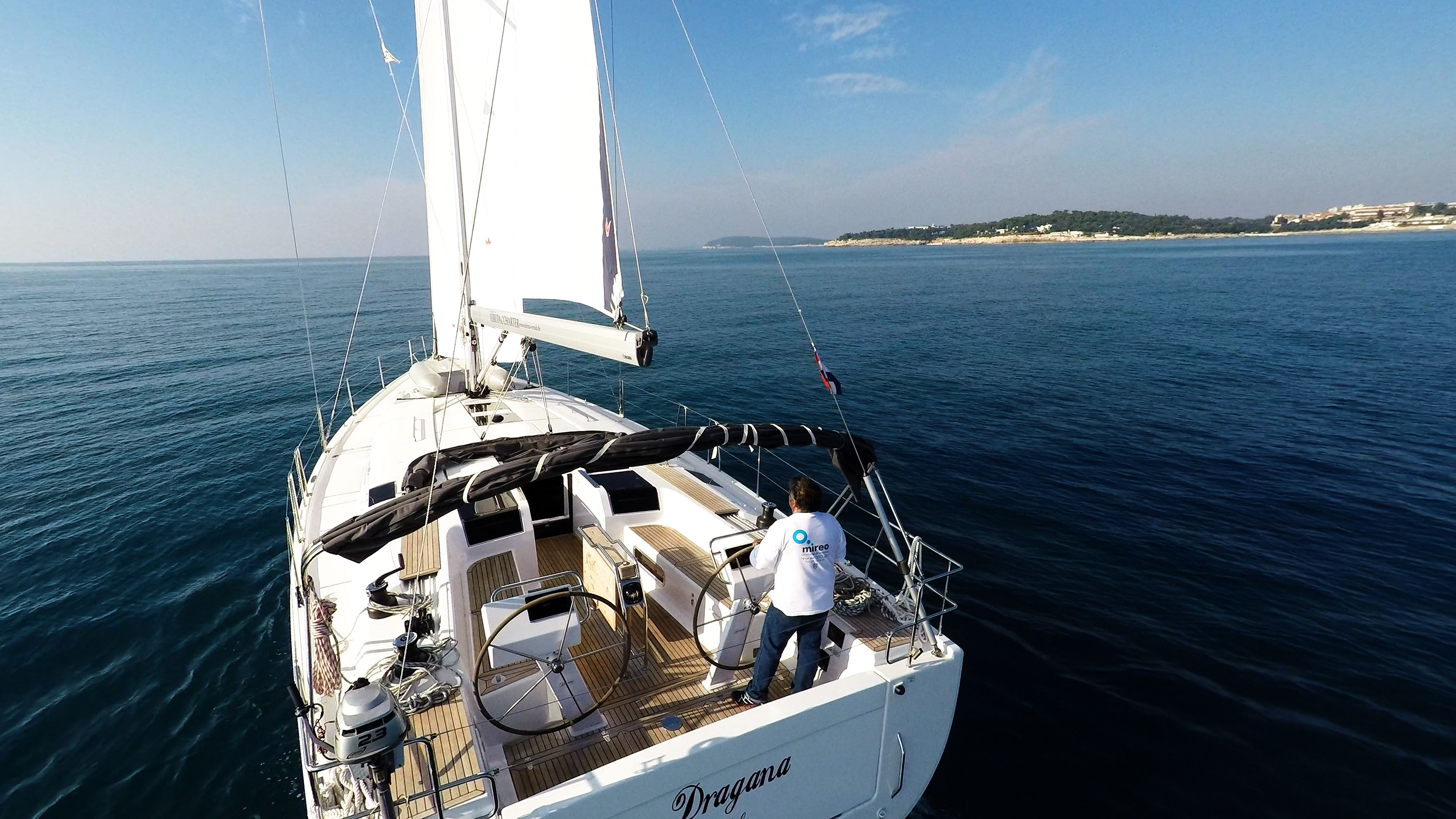 sailing yacht stern aft cockpit sailing yacht Hanse 505 steering wheels