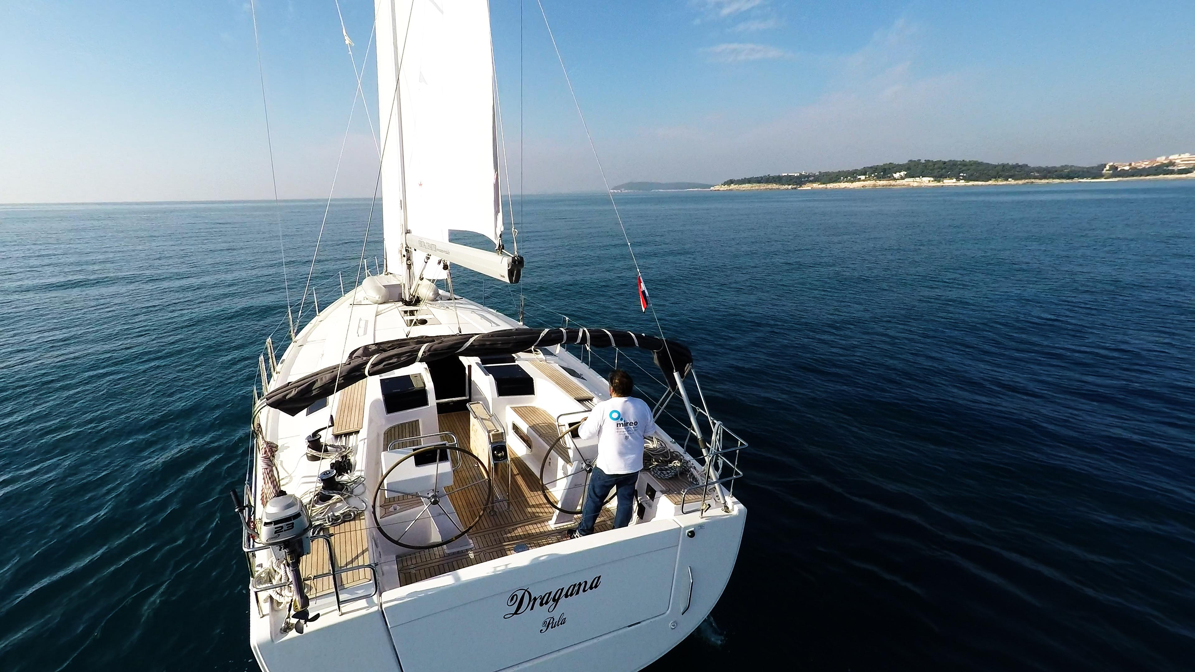 sailing yacht stern cockpit sailing yacht Hanse 505 sails