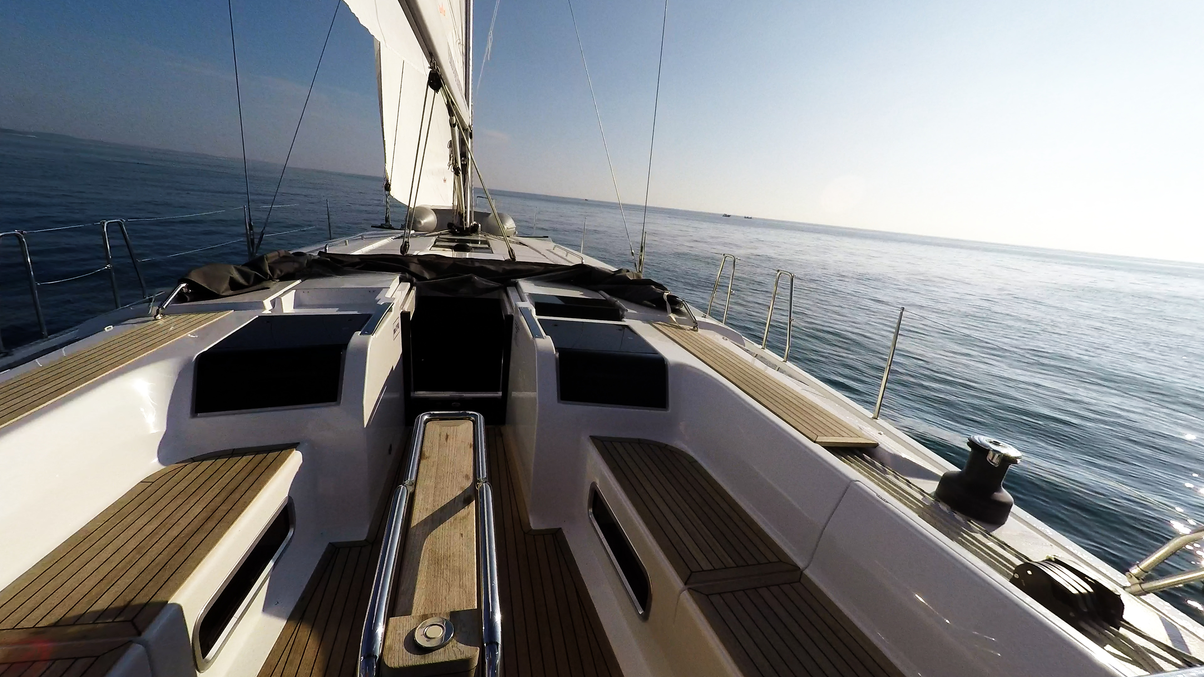sailing yacht teak cockpit table sailing yacht Hanse 505 boat