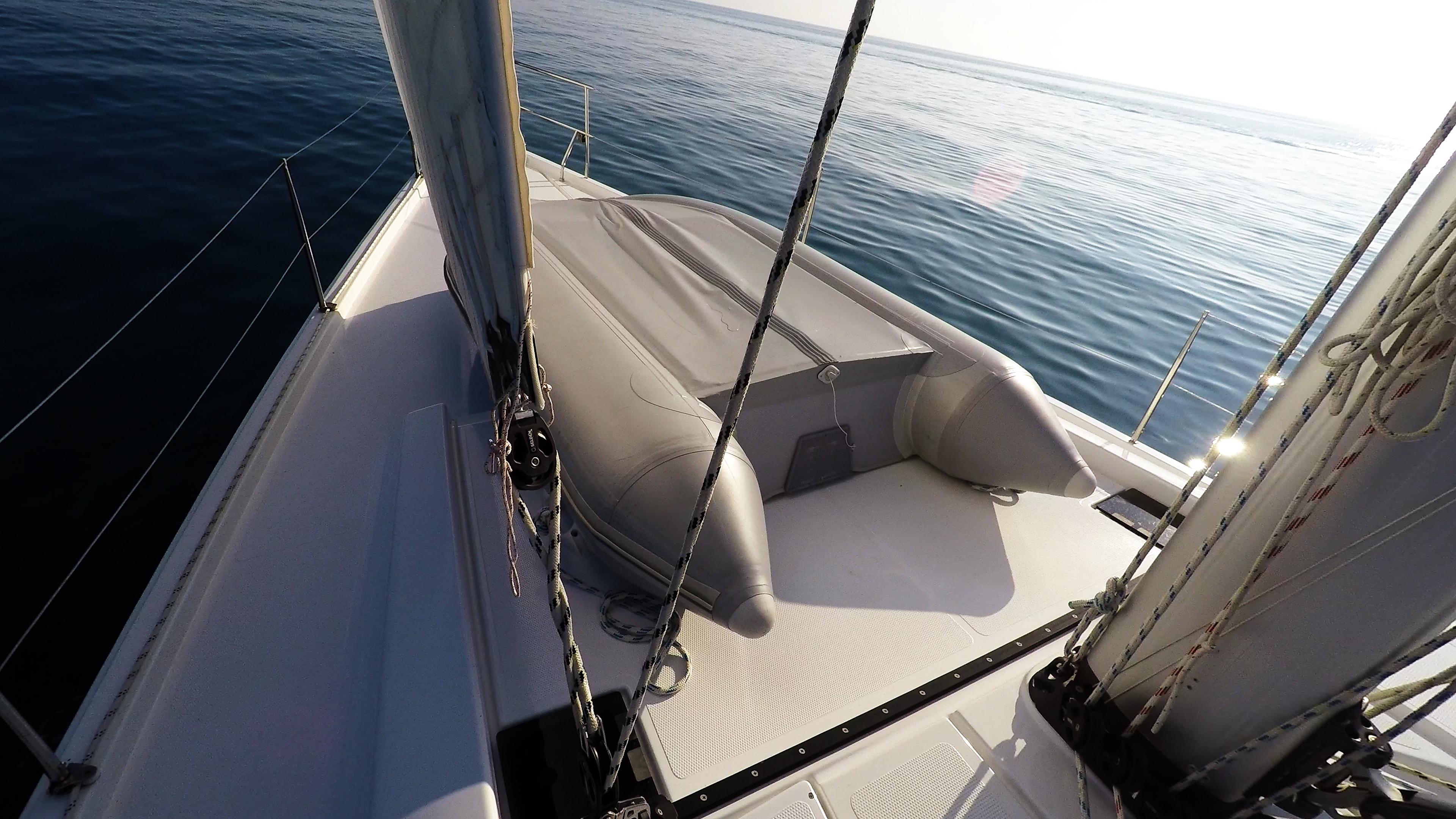 sailing yacht tender sailboat bow dinghy sailing deck